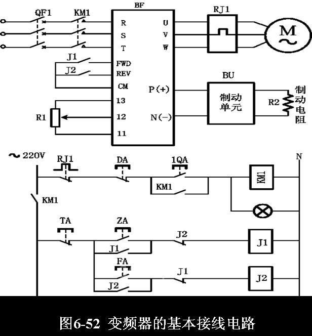 三相380交流电通过空气开关qf1, 尾架总成再经过交流接触器km1接入