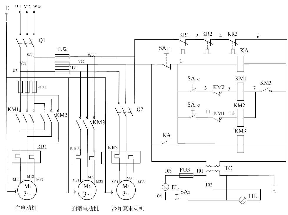 车床6163的电源接线图