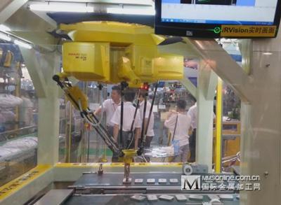 fanuc m-2ia机器人picking系统,通过视觉与编码器对运行输送线上