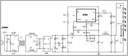 led日光灯电源,以台湾广鹏科技公司的a704wft为例,a704wft的mos管外