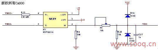 经电容滤波得到一个直流信号,然后送到电压跟随器,经p3,r44分压,最后