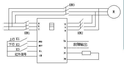 接线图  如上图,上行和下行是互锁控制,电机的电路上都加装了