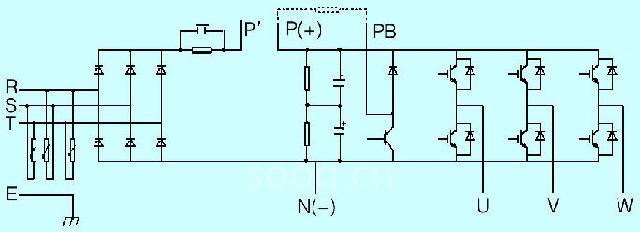 万用表的红色表笔和黑色表笔按以下步骤检测变频器主