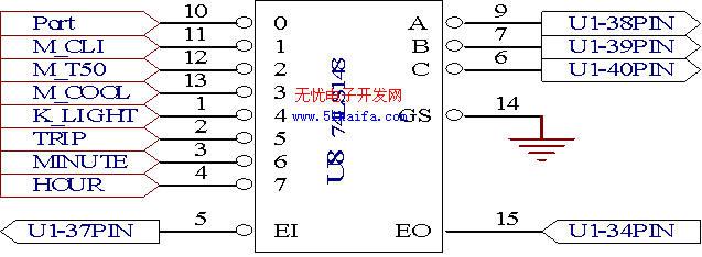 键盘电路,如图四所示,由于cpu 系统资源i/o口不足,本仪表系统