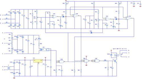 三相电源经a,b,c端进行检测,且三相电源分别加入rc移相电路,如在相序