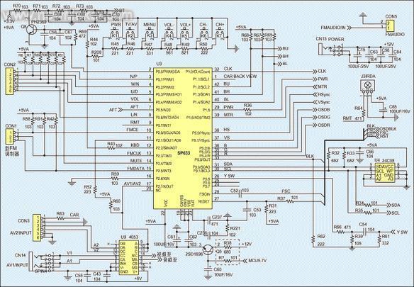 电路图   此外,图1中的电压合成(vs)高频头支持pal/ntsc/secam全制式