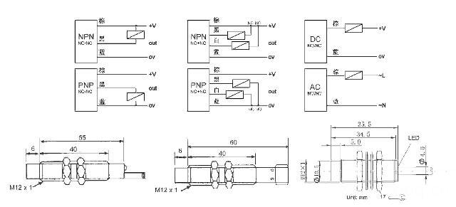 接线:3线型, 4线型,3线航空插座型,4线航空插座型 红色led输出指示灯