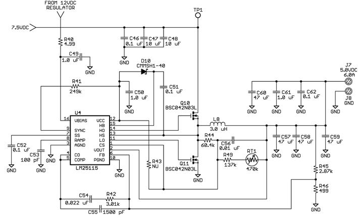 0vdc 电压, 7a 电流的同步降压转换器.