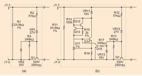 两个分立接口电路:a) 对0级;b) 对1,2和3级